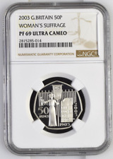 2009 Ultra Cameo PF69 NGC Silver Proof 50 Pence Suffragettes 1 of 1 Worldwide