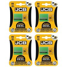 4 x JCB 9V 200mAh Rechargeable Ni-MH Battery Pre-Charged High Capacity PP3