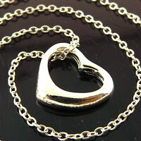 NECKLACE CHAIN GENUINE REAL 925 STERLING SILVER S/F LADIES HEART DESIGN PENDANT