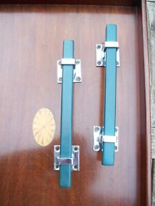 Superb - Two Vintage 1920/30s ART DECO Door Handles - Green & Chrome.