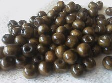 200 Brown Round Wooden Dyed Beads.  Size 8mm x 7mm.