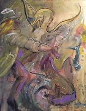 """NEW ORIGINAL LEON GOODMAN """"The Swan Dream of Reason"""" Abstract OIL PAINTING"""