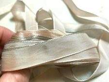 "Vintage silk rayon 1/2"" Ribbon 1920s Antique Blush Shaded 1yd Made in France"