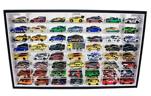56 Hot Wheels 1:64 Scale Diecast Display Case Stand, Mirrored Back, with Door