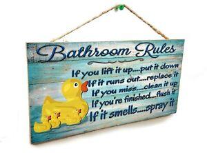 "Rubber Ducky Bathroom Rules If It Smells Spray It Beach 5"" x 10"" Bath SIGN"