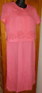 Bright Pink 2-Pc DINNER SUIT Sleeveless MAXI DRESS Embroidered S/S JACKET 10 12