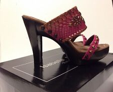 Isabella Fiore Heels with wood Pagan Wood Leather Sandals Heels Size 9 1/2 $275