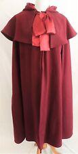 Beautiful Women's Cranberry Heavy Shaker Melton Wool Hooded Cloak (Cape) Large