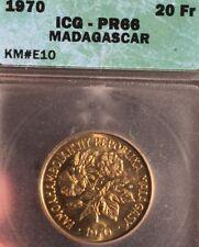 Madagascar, 20 francs.  KM#E10 ICG PR66 PROOF Essai Uncirculated Gem.