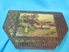 ANTIQUE FLEMISH PYROGRAPHY WOOD BOX WITH BOAT MAN WOMAN RIVER SCENE