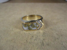 Chunky 14K Yellow Gold & Quartz Gold/Diamonds Ring, Size 9.25, 14.3g