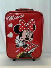 Disney Parks Authentic Minnie Mouse Child Size Rolling Suitcase 15-1/2 X 12 in