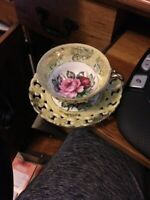 Vintage Cup & Saucer ROYAL SEALY CHINA Japan Yellow w/ Roses 3-Footed