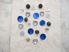 Venta ~ 12 Botones Decorativos-Perla/Shell/Azul/corazón/2 Agujero/Tarjetas/Artesanía/costura