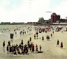 Beach near Young's Pier swim ocean Atlantic City NJ pre-1911 Vintage Postcard