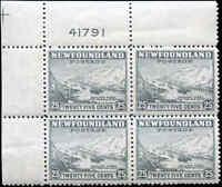 Mint NH Canada Nfdland 1941-44 Block of 4 F+ 25c Scott #265 Definitive Stamps