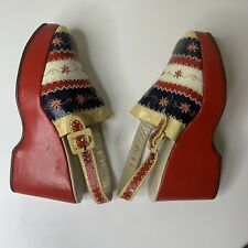 Vintage Edouard Jerrold Greek 60's Striped Red Platform Wedges Shoes - Size 9 B