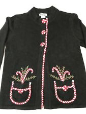 Timber lea Women's Ugly Christmas Sweater Snap Front Black Size:Large Candy Cane