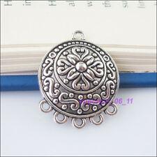2Pcs Tibetan Silver Round Flower Charms Pendants Connectors 23x28.5mm