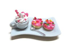 2 Pink Donut and Coffee on Tray Dollhouse Miniatures Food Supply Deco