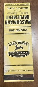 John Deere Farm Equipment Matchbook Cover Maschmann Implement Hebron Nebraska