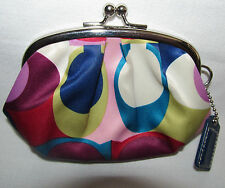 Coach Signature Purple Pink Blue Kiss Lock Small Coin Change Purse Wallet Pouch