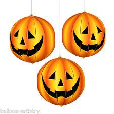 "3 Halloween 3D 6"" Hanging Paper PUMPKINS Hanging Lantern Decorations"