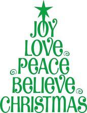 "joy Love Peace Believe Christmas Tree Vinyl Wall Decal / Sticker[Xmas 4] 8""x20"""