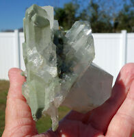 Green Chlorite Loaded Large Clear Quartz Crystal Points Natural Cluster For Sale