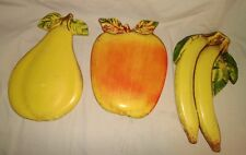 Lot of 3 Antique Plaster Heavy Hand Painted Fruit Wall Plaques Restaurant Decor