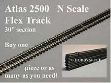 "ATLAS N SCALE 2500 CODE 80 SUPER FLEX 30"" STRAIGHT black ties track atl 2500 NEW"