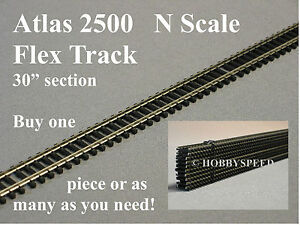 "ATLAS N SCALE 2500 CODE 80 SUPER FLEX 30"" STRAIGHT TRACK black tie ATL2500 NEW"