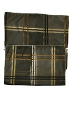 Set of 2 Robert Allen Pillow Sham Standard Plaid 21x37 & King Bedskirt