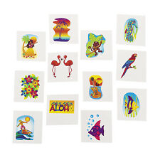 36 luau TATTOOS BIRTHDAY pool party favor loot bag FLAMINGO SEA HORSE PALM TREES
