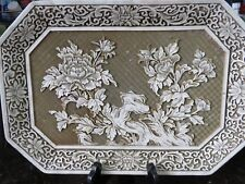 WHITE CINNABAR RESIN HIGH RELIEF CARVED PLAQUE TRAY MID CENTURY CHINESE