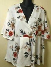 Womens White Floral Short Sleeves V Neck Top XXL Blouse