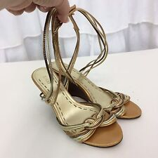 Fioni Strappy Gold Wedge Heels Sz 6 M Sandals Shoes Open Toe Ankle Strap GUC
