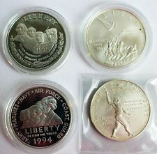 4 Coin Lot 1991-2006 BU & Proof Commemorative Silver Dollar Coins Less Perfect