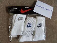 Vintage Nike Swoosh BLOCK LETTER Crew Socks Tennis Agassi McEnroe Federer 3 PAIR