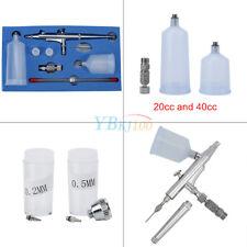 Airbrush Paint Spray Gun Kit 20cc / 40cc Gravity Feed Dual Action 0.2/0.3/0.5mm