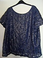 Dark Blue and Gold Lacey Top Size 20 Atmosphere - Gorgeous lace detail!!