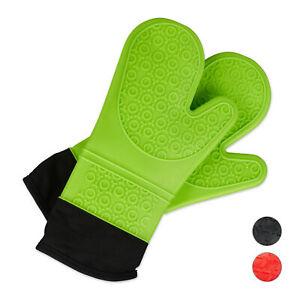 1 Paar Ofenhandschuhe Silikon Grillhandschuhe grün BBQ Handschuhe Backhandschuhe