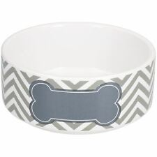 Small Chevron Grey Puppy Small Dog Feeding Food Water Bowl 13cm/400ml