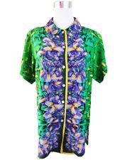 Michael Mims Ladies Vtg Silk Designer Floral Pattern Shirt Blouse size 10 12 F45