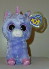 "Ty Beanie Boos - RAINBOW the Purple Unicorn 6"" (Solid Eyes) Purple Tag NEW MWMT"