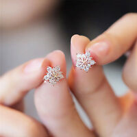 Fashion Women Crystal Rhinestone Ear Stud Snow Flower Earrings Glitter Jewelry