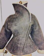 Azzedine ALAIA sculptural avaiator leather runway shearling jacket rare vintage