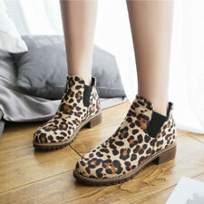 2019 Women Leopard Print Short Ankle Boots Winter Thick Heel Booties Shoes Size