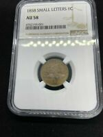 1858 1c FLYING EAGLE SMALL CENT, SMALL LETTERS NGC AU 58 GRADE