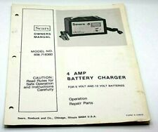 Sears 4 AMP Battery Charger 6 & 12 Volt Owner Manual Model # 608.718360